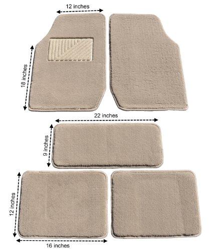 Eurow Tan Premium Plush Pile Carpet Floor Mat - 5 Piece ()