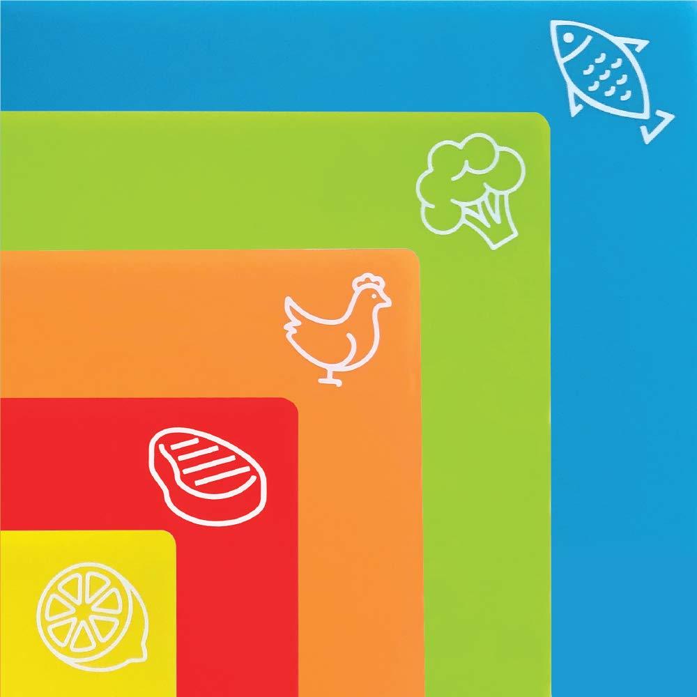 Gorilla Grip Original Set of 5 Flexible Plastic Cutting Boards, 4 Large Plus Bonus Small Board, BPA Free, Gripped Backing, Dishwasher Safe, Non Porous, Durable Chopping Mats, Food Icons, Multi Color