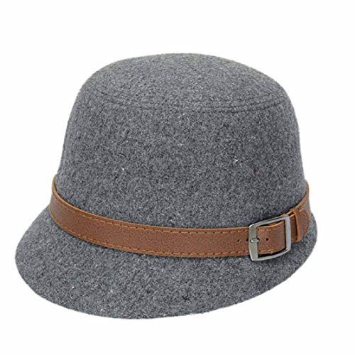 Belt Buckle Baseball Buckles (Luweki Solid Color Women Beach Belt Buckle Felt Bowler Fedora Hat Bowler Caps (Gray))