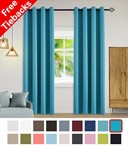 Image of the Yakamok Light Blocking Darkening Thermal Insulated Blackout Curtains Solid Grommet Top Window Draperies/Drapes/panels for Bedroom/Living Room 52x96 Inch Turquoise 2 Panels