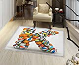 Letter K Bath Mats Carpet Alphabet Letter with Gaming Balls of Popular Sports Fun Initial Monogram Design Floor mat Bath Mat for tub 32''x48'' Multicolor