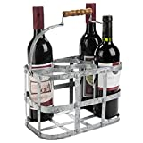 Rustic Farmhouse Style 6-Bottle Zinc Metal Wine Bottle Carrier Caddy with Wooden Handle