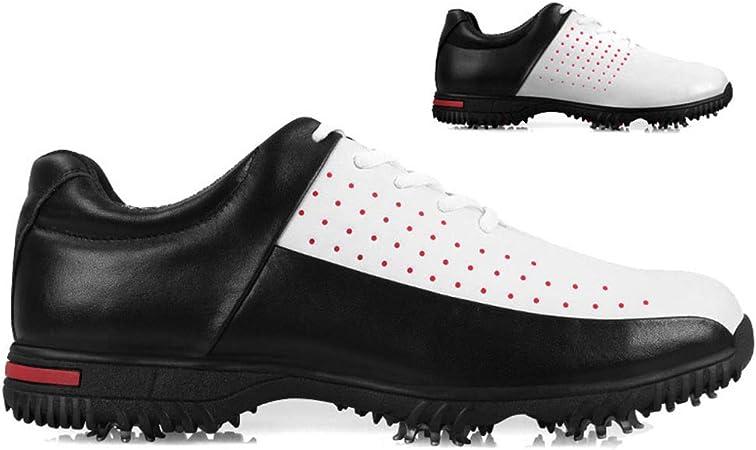 FJJLOVE Zapatos De Golf De Los Hombres, A Prueba De Agua Spikes Campo De La Zapatilla De Deporte del Cuero Antideslizante Recorrer Ocasional De Las Zapatillas De Running Training Shoes,B,43: Amazon.es: Hogar