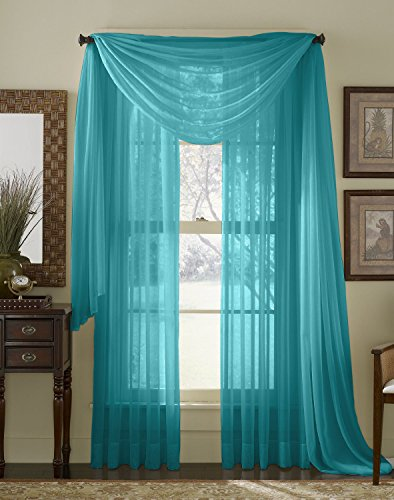 HLC ME Turquoise Voile Window Curtain product image