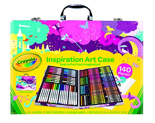 Crayola Inspiration Art Case - Pink, Portable Art Studio, 140 Art & Coloring Supplies, Paper, Colored Pencils, Crayons, Markers, Girl Coloring Gift