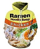 GLUDEAR Unisex Realistic 3D Digital Print Pullover Hoodie Hooded Sweatshirt,Egg Noodles,S/M