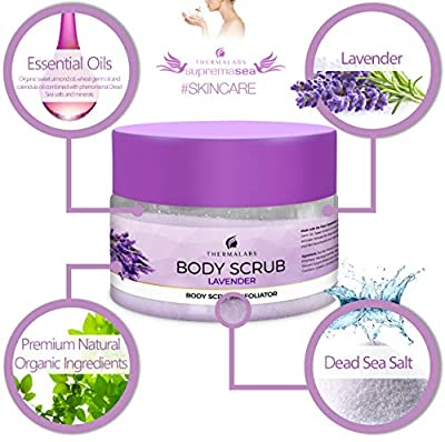 Salt & Oil Based Lavender Body Scrub for Women & Men, 14 Oz, Dead Sea Salts Exfoliator: Goodbye Blackheads, Ingrown Hairs and Acne! Soft Cleanser & Moisturizer with Natural & Organic Essential Oils