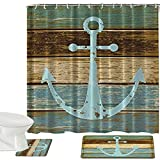 Anchor Shower Curtain Madeals Shower Curtains Set & Flannel Foam Bathroom Mat Set Combination 3 Pcs Set - Geometric Patterned Shower Curtain 20 x 32 Bath Mat, 20 x 20 Toilet Mat & Shower Curtain Anchor