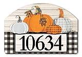 Yard Design Studio M Plaid Pumpkin Address Sign - 14'' x 10''