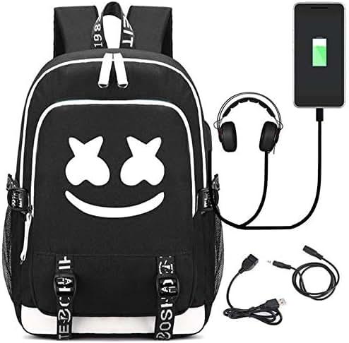 USAMYNA Luminous Backpack For Teens School Bag 36L-55L Rucksack External USB and Headphone Port Travel Laptop Bag For Students (Smiley)