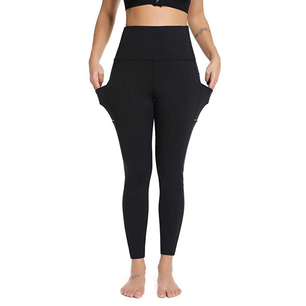 Edenun Women's Yoga Pants with Pocket High Waisted Tummy Control Workout Leggings Jogger Casual Tight Trousers