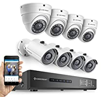 Amcrest ProHD 720P 8CH Video Security System - Eight 1.0-Megapixel (1280TVL) Outdoor IP67 Bullet & Dome Cameras, 2TB HDD, Night Vision, Remote Smartphone Access, White Mid (AMDV7208M-4B4D-W)