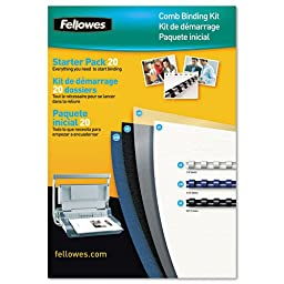 Fellowes Comb Binding Kit, 20 Binding Combs, 20 Front Covers, 20 Back Covers, Assorted (5290201)