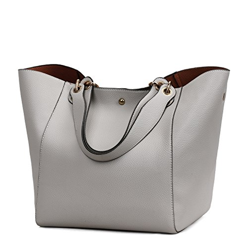 (Obosoyo Women's Waterproof Handbags Ladies Synthetic Leather Tote Shoulder Bags Fashion Travelling Mommy Soft Hot Purse Grey)