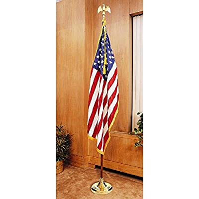 US Flag Factory 7' American Flag Indoor Set with Wood Pole - Complete Presentation Set
