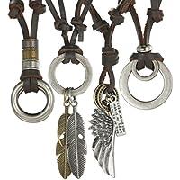 FIBO STEEL 3-4 Pcs Alloy Vintage Pendant Necklace for Men Women Leather Chain Adjustable