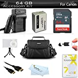 64GB Accessories Bundle Kit For Canon PowerShot SX40 HS, G1X, G3 X, SX50 HS SX50HS, SX60 HS, Powershot G15, G16 Digital Camera Includes 64GB High Speed SD Memory Card + Replacement NB-10L Battery + More