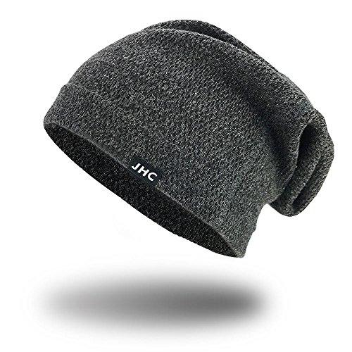 Stretch Mens Beanie (JHC Warm Slouchy Hip Hop Soft Stretch Beanie Hat For Women For Men (Dark Grey))