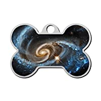 YIGEREEN Personalized Collar Tag Pet ID Tags for Cat and Dog - Bone Shape Astronomy Universe Cosmos