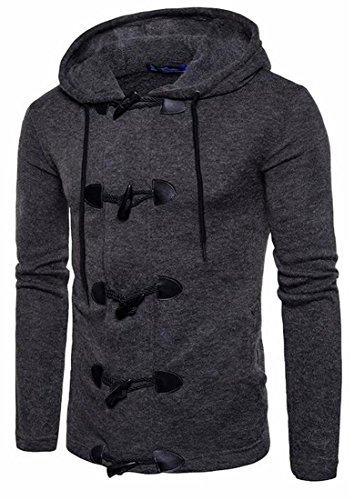 today-UK Mens Hooded Solid Color Classic Button Sweater Outwear Jacket Dark Grey