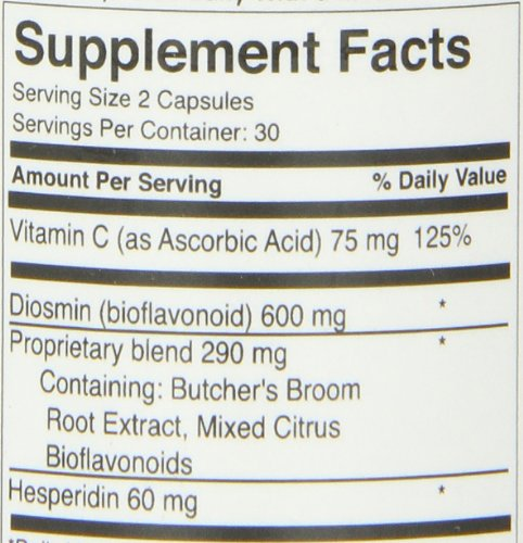 FoodScience of Vermont Healthy Veins, Vascular and Circulatory Health Supplement, 60 Capsules