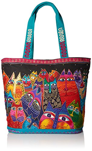 Laurel Burch (LB5230) Shoulder Tote Zipper Top 19, 1/2-Inch by 6, 3/4-Inch by 15-Inch, Fantasticats