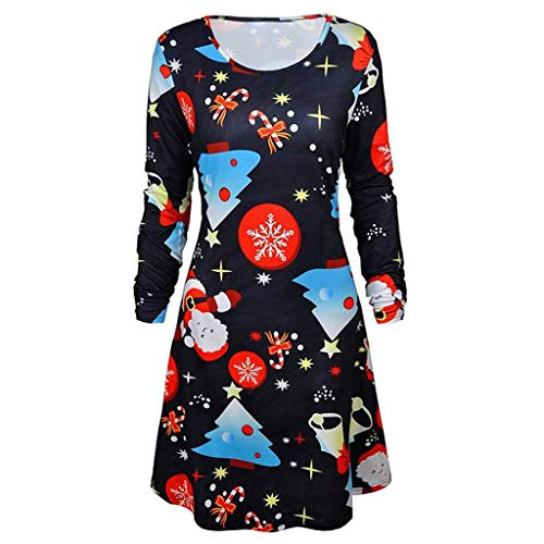 Dress for Women FEDULK Santa Claus Print Long Sleeve Swing Evening Party Dress(Black3, US Size XL = Tag 2XL) ()