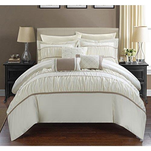 Chic Home 10 Piece Cheryl Comforter Set, Queen, Beige (Comforter Beige Set)