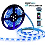 GuckZahl LED Strip, 5M/16.4ft Wireless Multi Color Changing RGB light strip Rope Flexible Lightings Strip 150leds 5050, Compatible with Alexa and Google Home