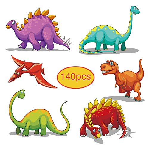 140PACK Dinosuar Temporary Tattoos for Kids, 20 Individual Designs for Baby Boy Birthday Party Favor Supplies School Class Exchange Present with Colored Box 1.57inch Size (Money Makes The World Go Round Tattoo)