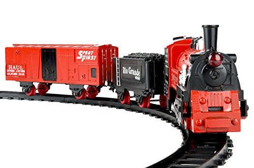 - eBigValue Jumbo 23 Piece Christmas Classic Train Tack / Western Pioneer Express Railway Train Set with Sound, Lights, Smoke / Christmas Tree Decoration