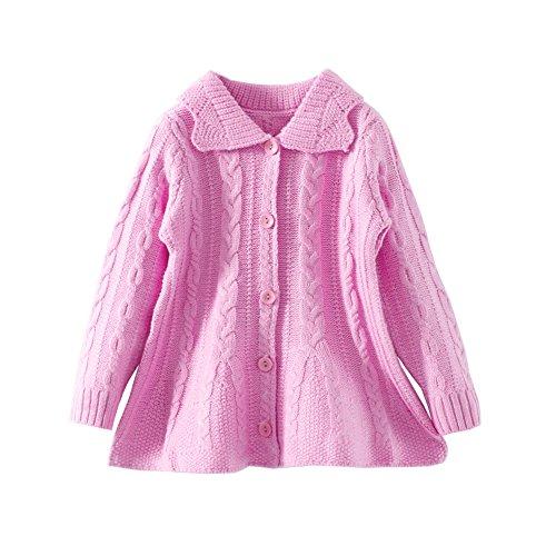 Mud Kingdom Girls Cardigan Sweaters Button Up Pink 4T (Cardigan Girls Sweater Pink)