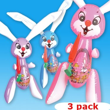 Set of 3 - Jumbo Inflatable Easter Bunny Inflates - 42 Inch Easter Rabbits by happy deals (Blow Up Easter Bunny)