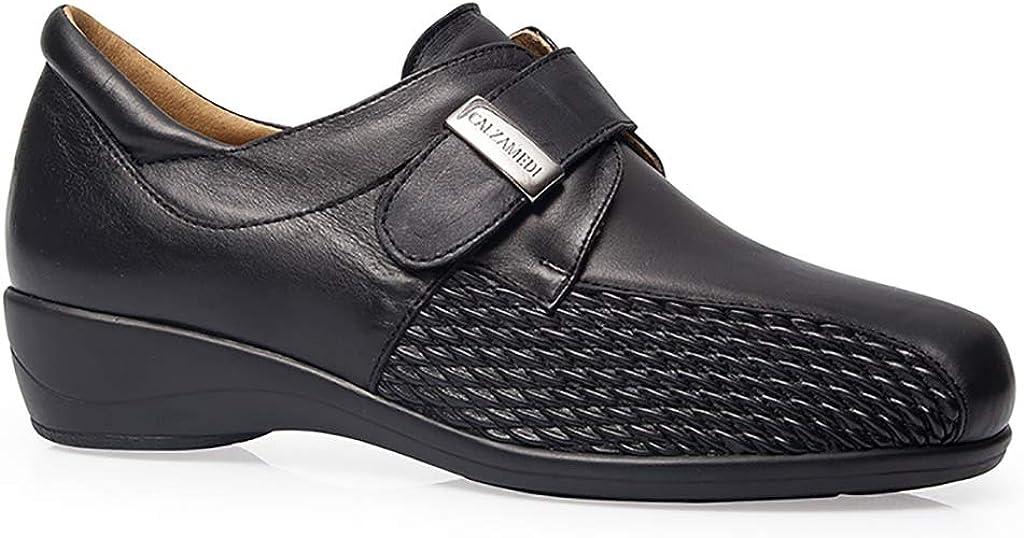 Zapato Mujer ORTOPEDICO Marca CALZAMEDI, Horma Ancho 14, Piel Color Negro, Cierre Velcro, Plantilla Extraible, Poco Peso y Especial juanetes - 0678-38