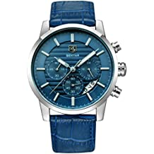 BENYAR Chronograph Waterproof Watches Business and Sport Design Blue Leather Band Strap Wrist Watch for Men (L Silver Blue B)