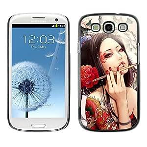 QCASE / Samsung Galaxy S3 I9300 / artista del tatuaje sexy mujer cepillo de la tinta de la flor roja / Delgado Negro Plástico caso cubierta Shell Armor Funda Case Cover