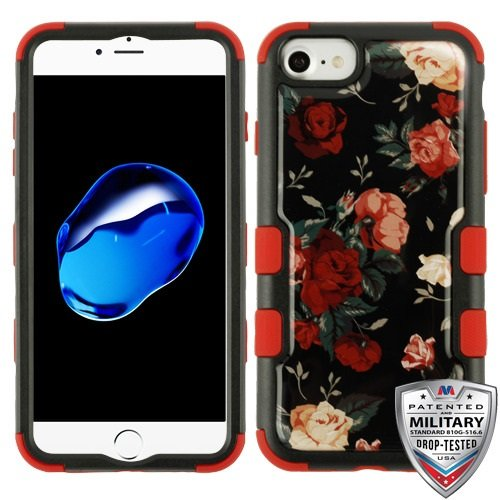 (ShopAegis - [HYBRID DESIGN] [Natural Black)/Red] Red and White Roses Garden Display Art Protector Phone Cover Case for Apple iPhone 8/7)