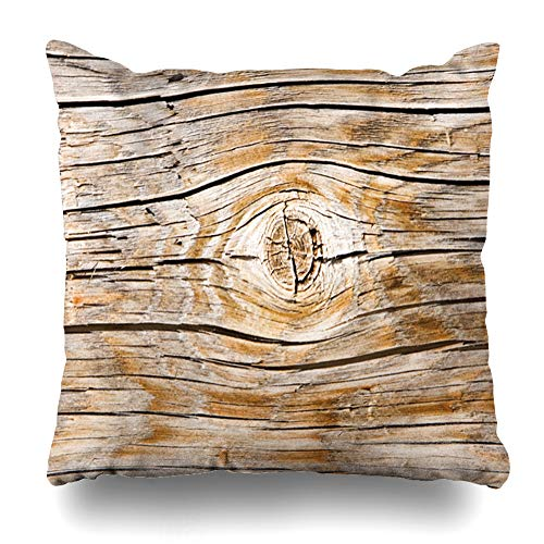 Ahawoso Throw Pillow Cover Closeup Aged Wood Abstract Nature Round Circle Clearcut Cracks Crop Cut Design Decorative Pillowcase Square 16x16 Home Decor Zippered Cushion Case