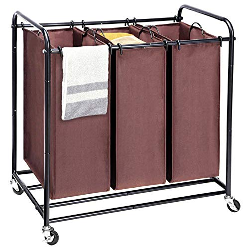MaidMAX 3 Bags Rolling Laundry Sorter, 4 Wheels Cart with 3 Removable Bags, Metal Frame, Brown