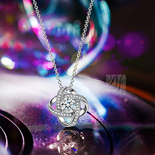 NINASUN Necklace Earrings ♥Coupon 40% Off♥ Silk of Love Series 925 Sterling Silver CZ Stud Earrings Necklace for Women