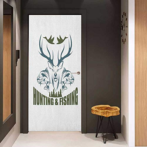 - Onefzc Soliciting Sticker for Door Hunting Artistic Animals Emblem Moose Head Horns Trout Salmon Sea Fishes Mural Wallpaper W31 x H79 Olive Green Slate Blue White