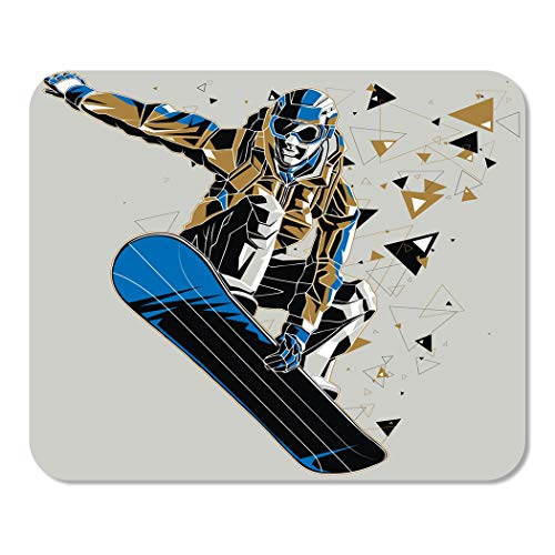 Suike Mousepad Computer Notepad Office Blue Snowboard Snowboarder with Graphic Trail Sport Winter Athletic Board Helmet Home School Game Player Computer Worker 9.5x7.9 Inch