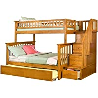 Staircase Bunk Bed with Urban Trundle Bed (Twin Over Full - Caramel Latte)