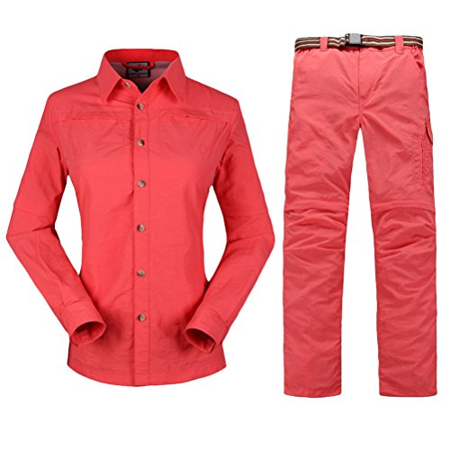 Zhhlaixing mujeres Hiking Climbing Quick-drying Outdoor Sport Suits Shirt & Shorts Removable Pants Watermelon Red