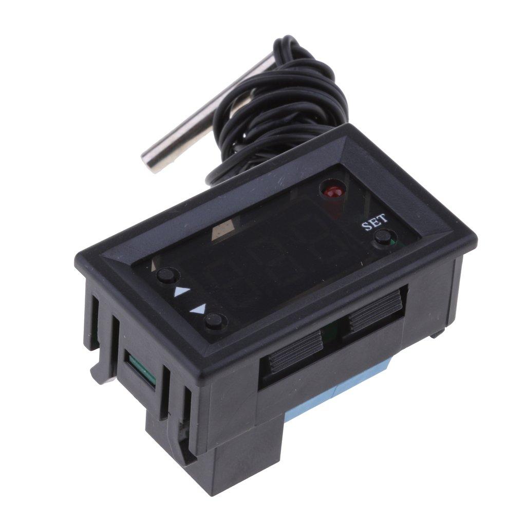 MagiDeal 1 Stück Digitalthermometer mit Sonde 10A Relais Automatisch EIN/AUS Temperaturregler - 5V
