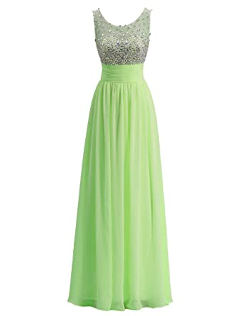 Callmelady Long Prom Evening Dresses For Women UK With High Neck & Rhinestones (Lime Green