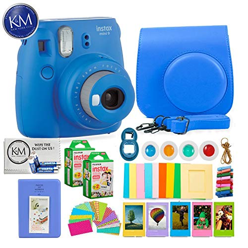 Fujifilm instax Mini 9 Instant Camera Cobalt Blue + 20 Instant Film Pack x 2 + Instax Accessories Bundle