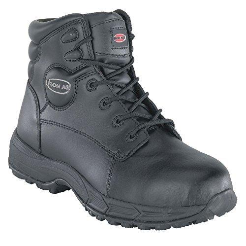 Athletic Boots, STL Toe, 6In, Blk, 9-1/2W, PR