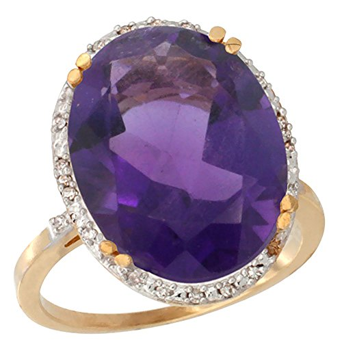 14K Yellow Gold Natural Amethyst Ring Large Oval 18x13mm Diamond Halo, sizes 5 10