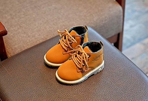 TPulling Mode Junge Und Mädchen Martin Stiefel Herbst Und Winter Stiefel britischen Warmen Stiefel Gelb